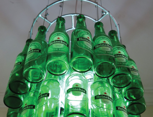 Heineken bottle chandelier